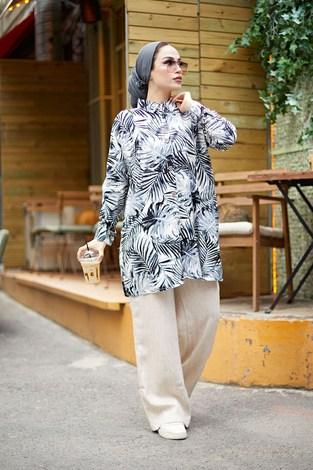 - MDI Palmiye Desenli Gömlek 3466-1 Siyah