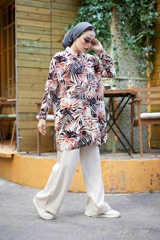 - MDI Palmiye Desenli Gömlek 3466-4 Kiremit