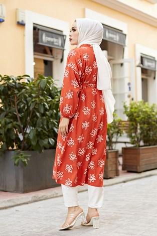 MDI Papatyalı Kimono 8946-6 Mercan - Thumbnail