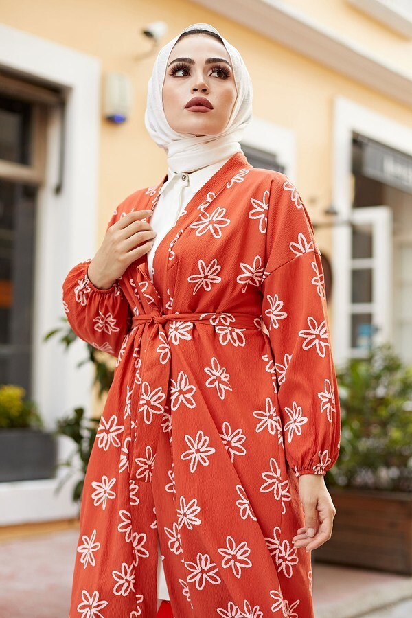 MDI Papatyalı Kimono 8946-6 Mercan