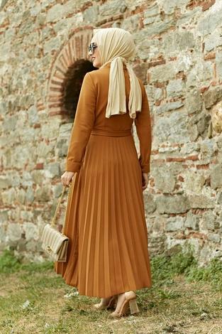 MDI Piliseli Elbise 21515-4 Hardal - Thumbnail