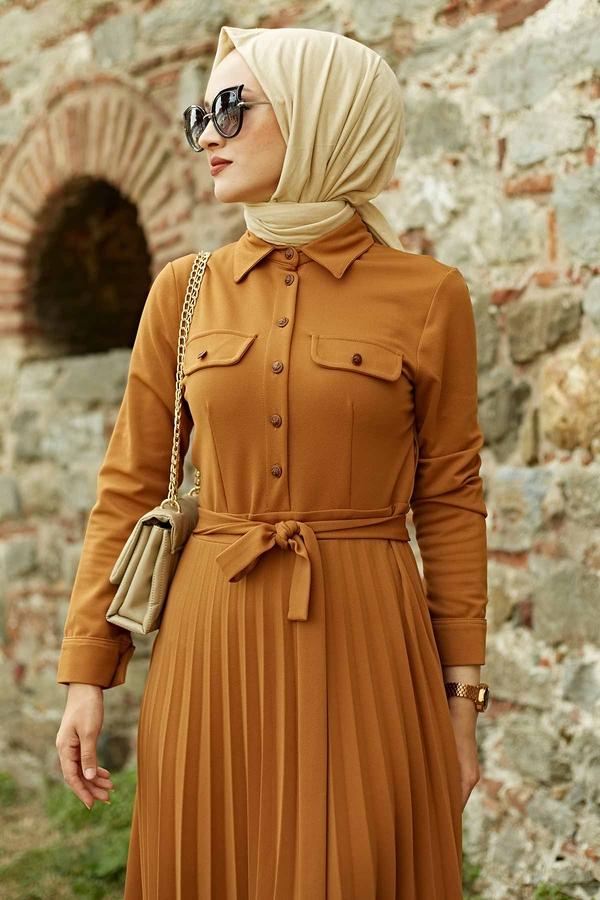 MDI Piliseli Elbise 21515-4 Hardal