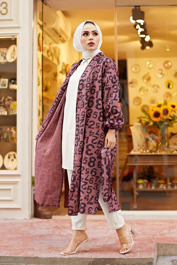 MDI Rakamlı Kimono 8946-7 Mürdüm