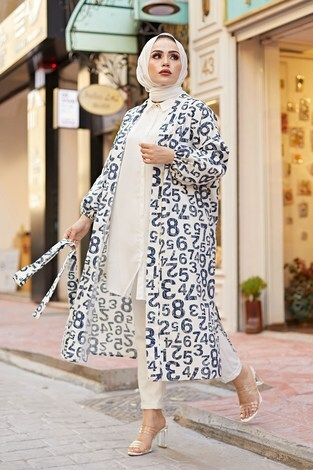 - MDI Rakamlı Kimono 8946-8 Beyaz