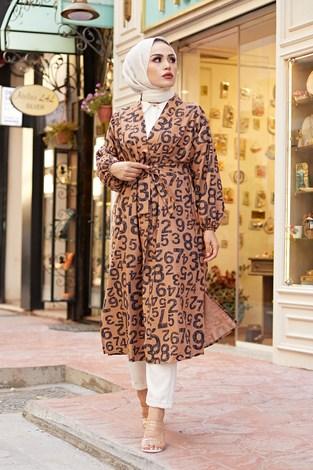 MDI Rakamlı Kimono 8946-9 Kahve - Thumbnail