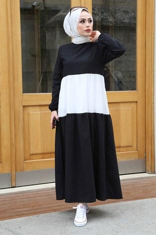 MDI Tarz Elbise 17645-1 Siyah - Thumbnail