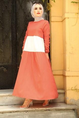 MDI Tarz Elbise 17645-10 Mercan - Thumbnail