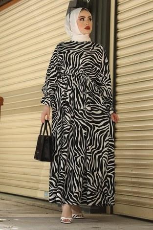 MDI Yarasa Kol Beli Büzgülü Zebra Desen Elbise 17631-4 Beyaz - Thumbnail