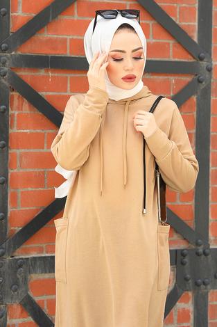 - MDK Kapüşonlu Çift Cepleri Sweat Tunik 2289-12 Camel (1)