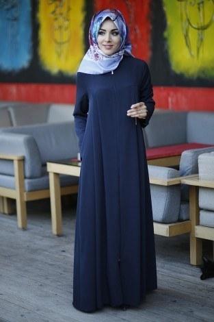 - Dubai İpeği Lacivert Ferace 8103-1