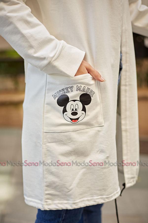 Mickey Mouse Baskılı Kap 8730-2 Beyaz