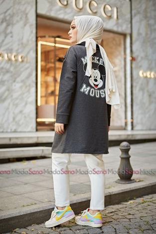 Mickey Mouse Baskılı Kap 8730-3 Antrasit - Thumbnail