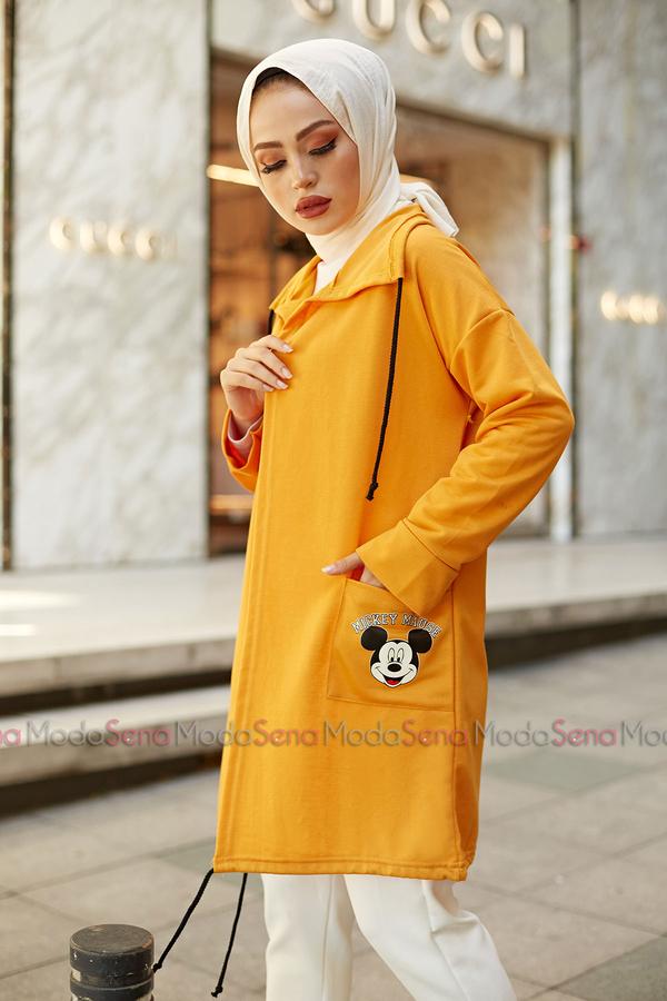 Mickey Mouse Baskılı Kap 8730-5 Hardal