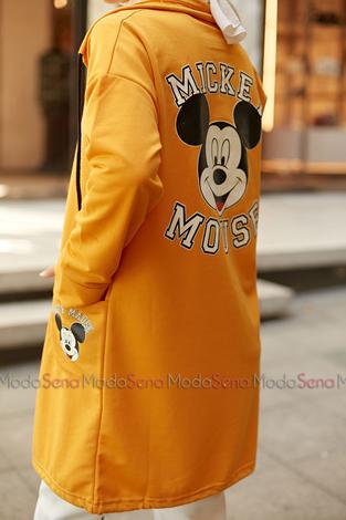 Mickey Mouse Baskılı Kap 8730-5 Hardal - Thumbnail