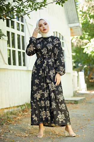 Mom Elbise 6034-1 Siyah - Thumbnail