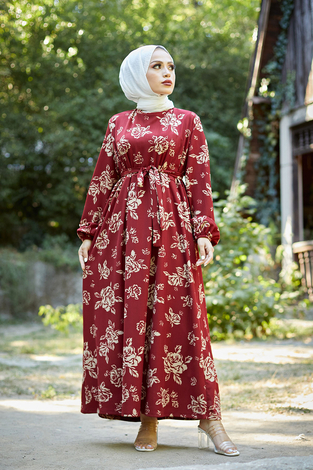 - Mom Elbise 6034-4 Bordo