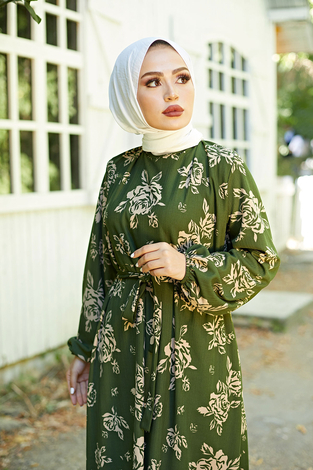 Mom Elbise 6034-5 Haki - Thumbnail