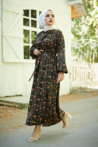 Mom Elbise 7094-3 Haki - Thumbnail