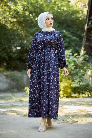 - Mom Elbise 7094-4 Lacivert