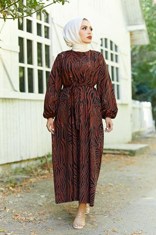 Mom Elbise 7094-5 Kiremit - Thumbnail