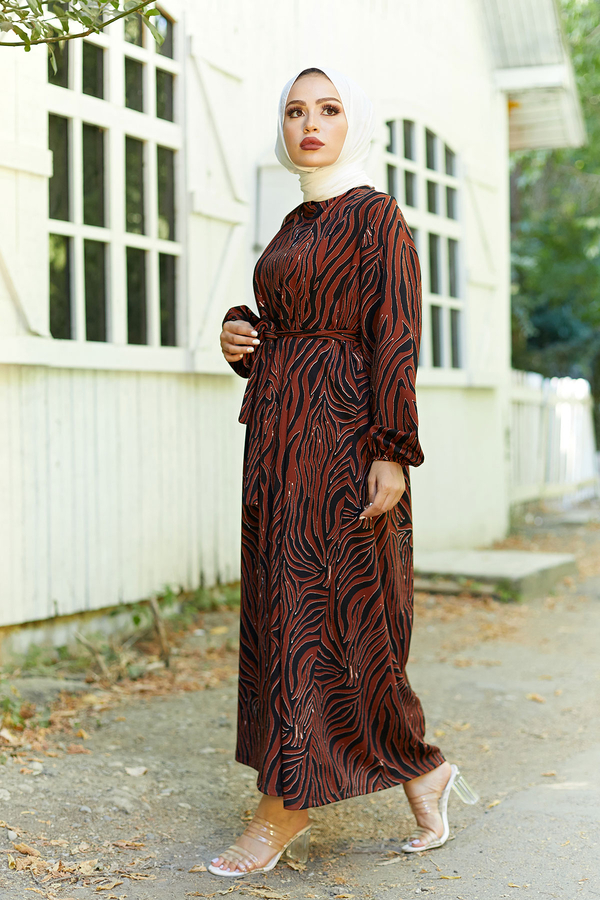 Mom Elbise 7094-5 Kiremit