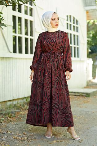 - Mom Elbise 7094-6 Bordo