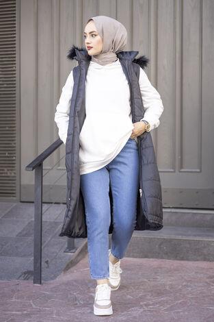 Mom Jean Kot Mavi Pantolon 210TB-2071 -6 - Thumbnail