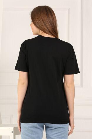 %100 Pamuk Bisiklet Yaka Örme T-Shirt 85825-1 - Thumbnail