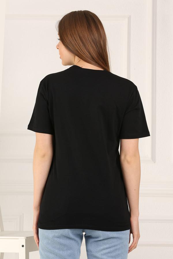 %100 Pamuk Bisiklet Yaka Örme T-Shirt 85825-1
