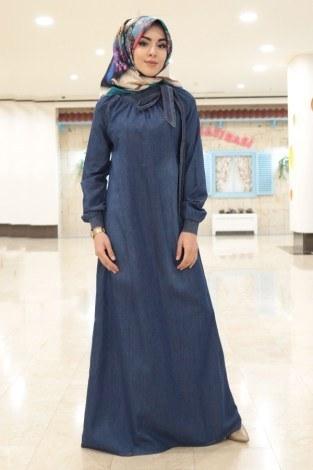 - MSV Büzgülü Kot Ferace Elbise 1004-83 K.mavi (1)