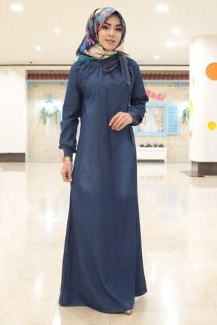 - MSV Büzgülü Kot Ferace Elbise 1004-83 K.mavi