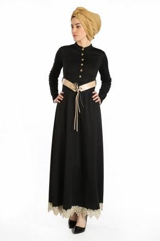- Kemerli Güpür Detaylı Elbise 1683-01 (1)