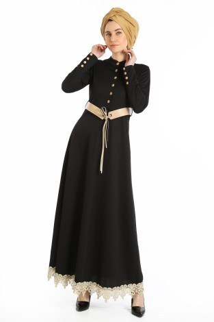 - Kemerli Güpür Detaylı Elbise 1683-01
