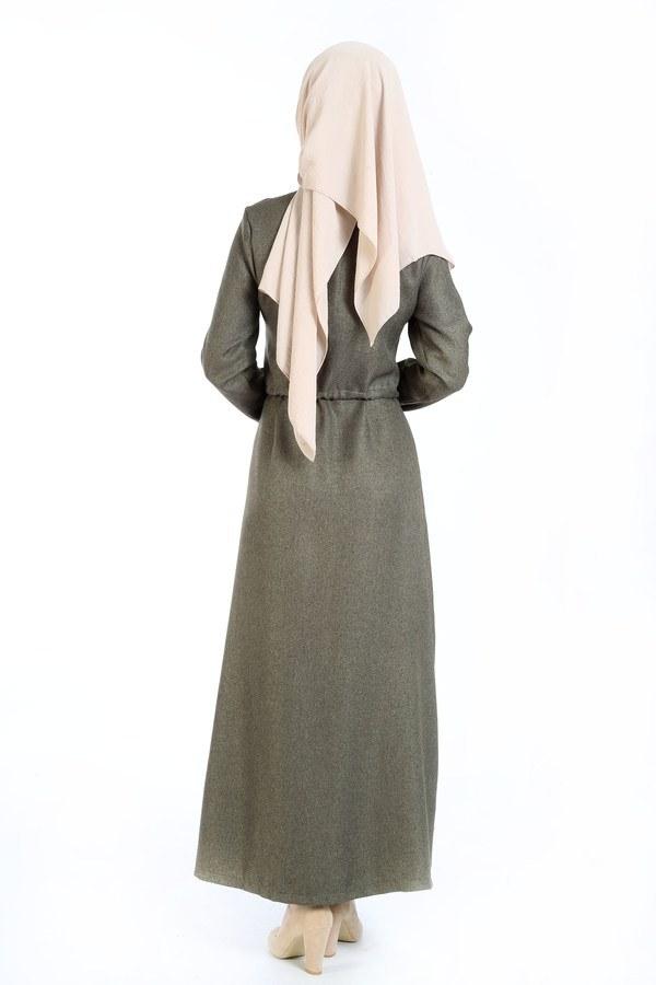 Nakış Detaylı Elbise 20105-04 haki