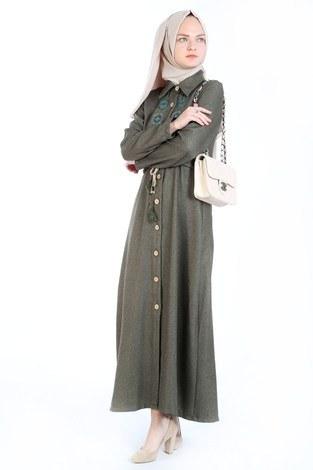 Nakış Detaylı Elbise 20105-04 haki - Thumbnail