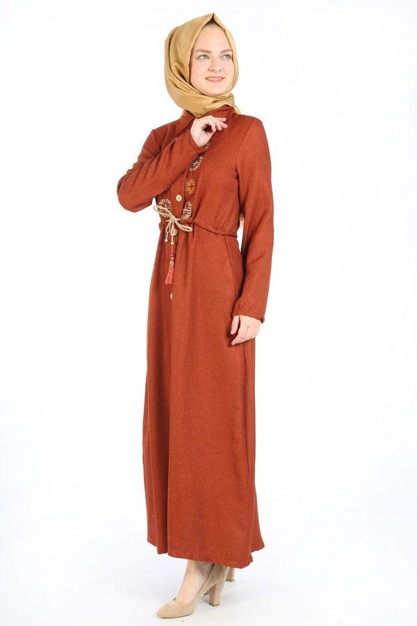Nakış Detaylı Elbise 20105-15 taba