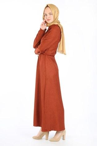 Nakış Detaylı Elbise 20105-15 taba - Thumbnail