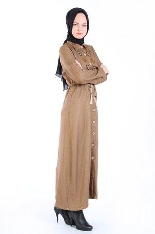 Nakış Detaylı Elbise 20105-11 kahve - Thumbnail