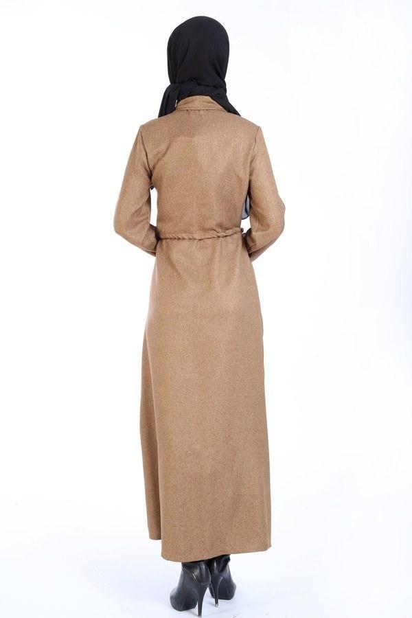 Nakış Detaylı Elbise 20105-11 kahve