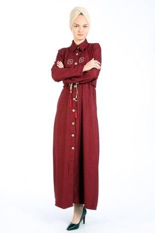Nakış Detaylı Elbise 20105-03 bordo - Thumbnail