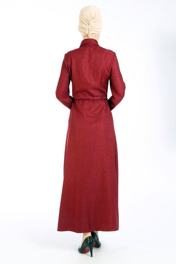 Nakış Detaylı Elbise 20105-03 bordo