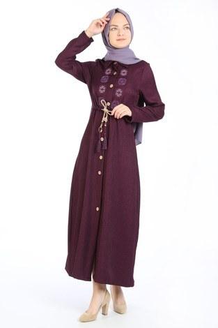 Nakış Detaylı Elbise 20105-13 mor - Thumbnail