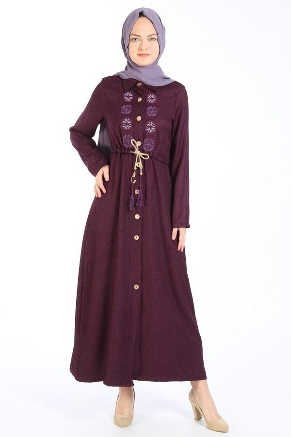 Nakış Detaylı Elbise 20105-13 mor