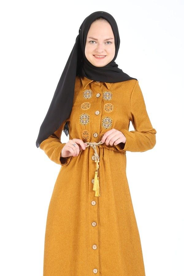 Nakış Detaylı Elbise 20105-10 sarı