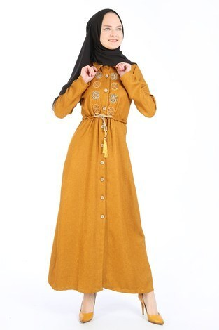 Nakış Detaylı Elbise 20105-10 sarı - Thumbnail
