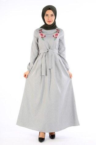 Nakış Detaylı Kuşaklı Elbise 4131-02 - Thumbnail