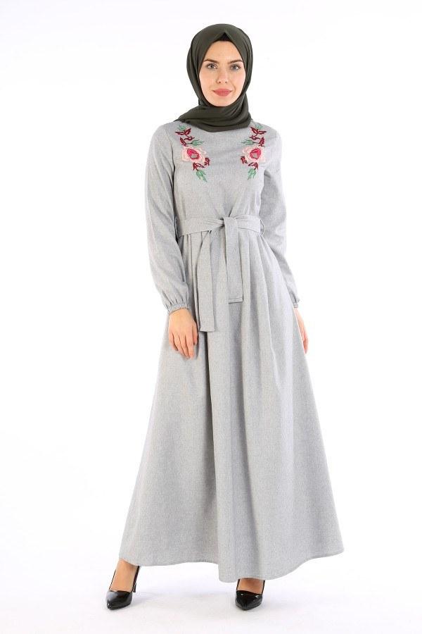 Nakış Detaylı Kuşaklı Elbise 4131-02
