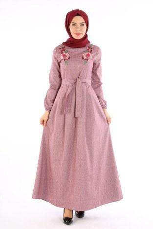 Nakış Detaylı Kuşaklı Elbise 4131-03 - Thumbnail