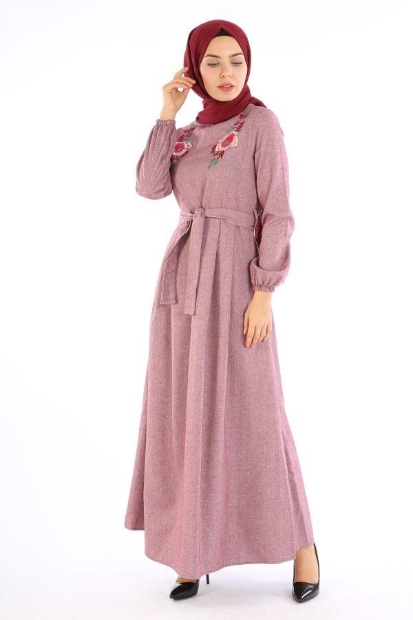 Nakış Detaylı Kuşaklı Elbise 4131-03