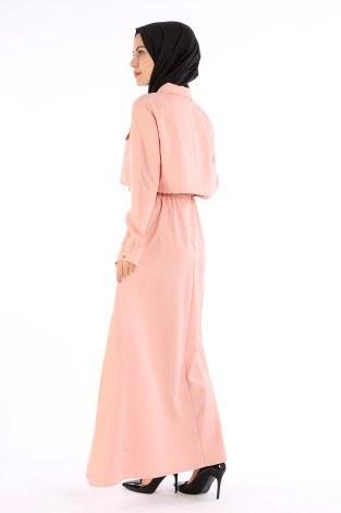 Şık Tesettür Elbise 8201-12 - Thumbnail